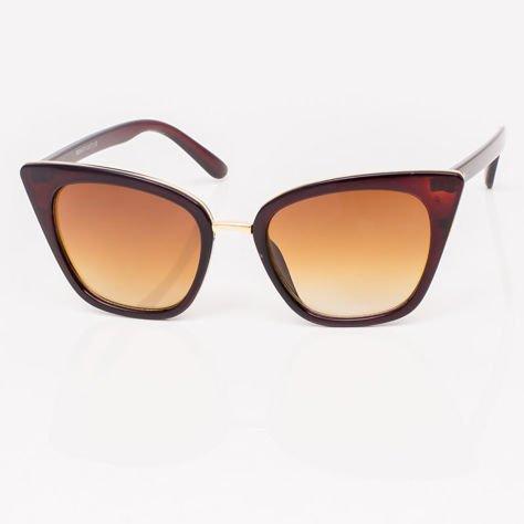 Brązowe Damskie Okulary przeciwsłoneczne CAT EYE                              zdj.                              3