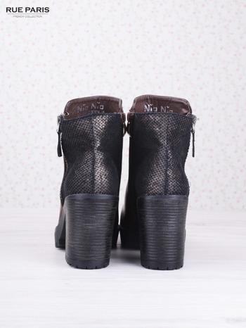 Brązowe botki faux leather z ciemną wstawką ze skóry węża zapinane na suwak                                  zdj.                                  4