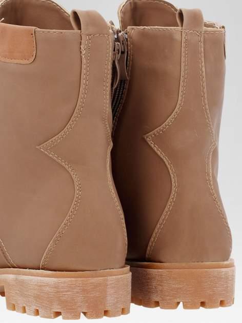 Brązowe damskie buty trekkingowe typu traperki                                  zdj.                                  6