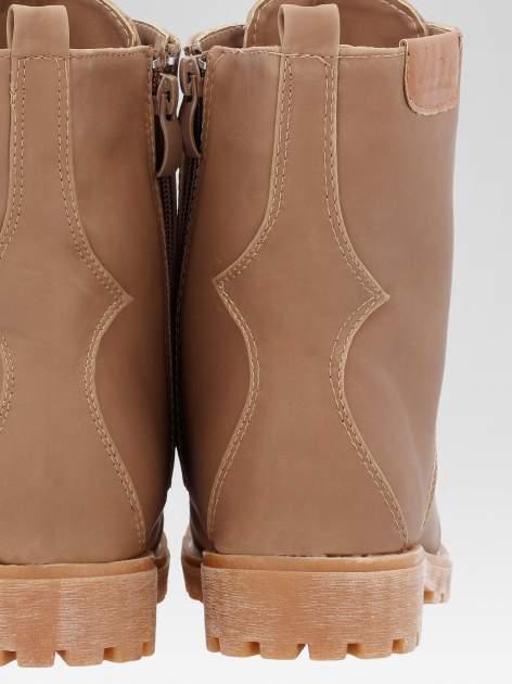 Brązowe damskie buty trekkingowe typu traperki                                  zdj.                                  7