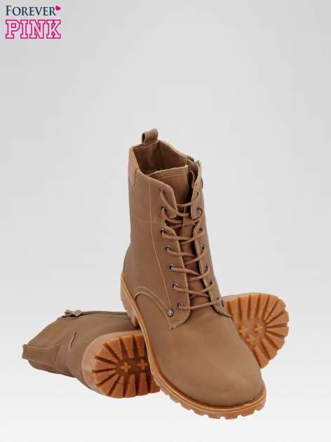 Brązowe damskie buty trekkingowe typu traperki                                  zdj.                                  4