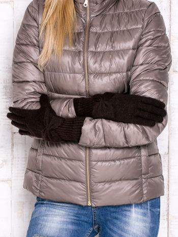 Brązowe długie rękawiczki z kokardą i prążkowanym ściągaczem                                  zdj.                                  2