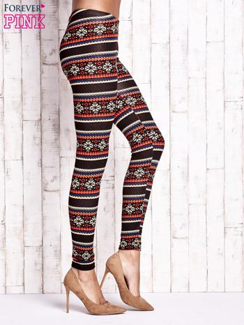Brązowe legginsy z zimowym nadrukiem                                  zdj.                                  3