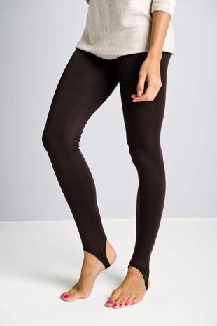 Brązowe legginsy zakładane na stopę                                  zdj.                                  1