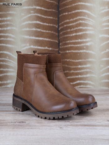 Brązowe skórzane botki faux leather na suwak, z traktorową podeszwą                                  zdj.                                  2