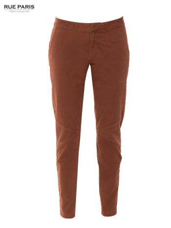 Brązowe spodnie materiałowe z przeszyciami na kolanach                                  zdj.                                  6
