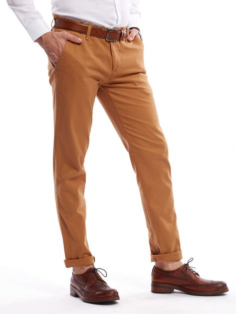Brązowe spodnie męskie chinosy o prostym kroju                              zdj.                              10