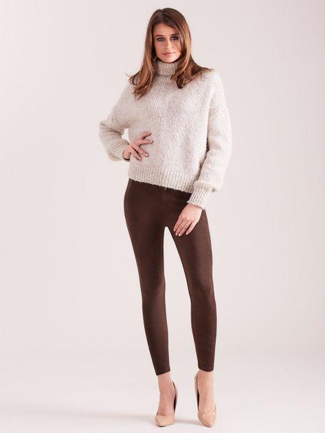 Brązowe sztruksowe legginsy z wysokim stanem                              zdj.                              4