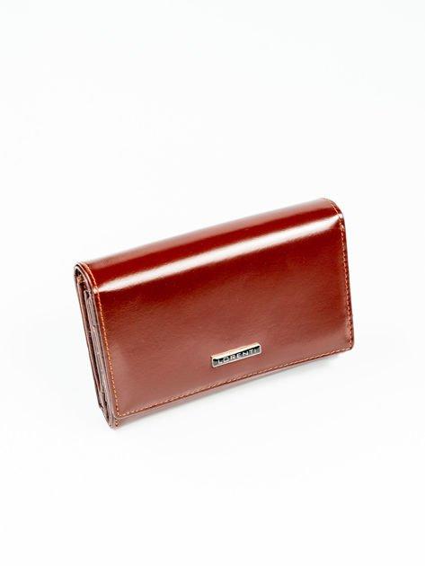 66423d06b1b22 Brązowy damski poziomy portfel skórzany - Akcesoria portfele - sklep ...