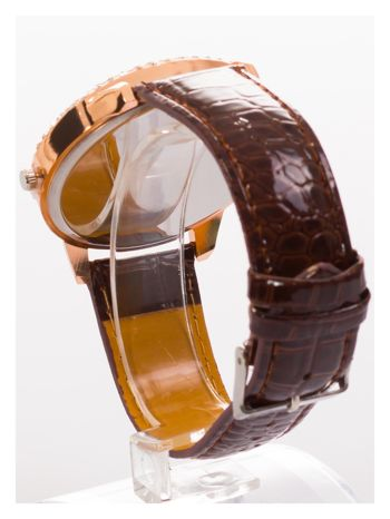 Brązowy damski zegarek na pasku ze skóry lakierowanej                                  zdj.                                  4