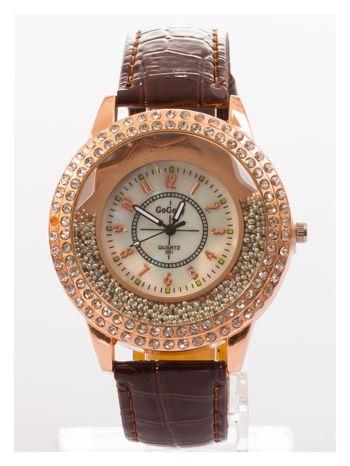 Brązowy damski zegarek na pasku ze skóry lakierowanej                                  zdj.                                  1