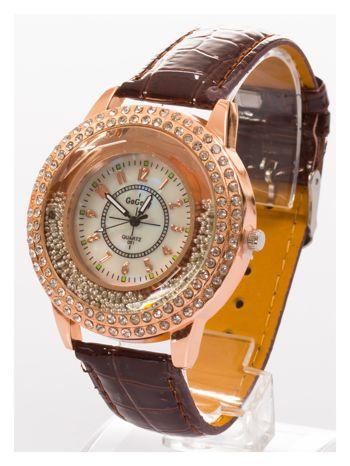 Brązowy damski zegarek na pasku ze skóry lakierowanej                                  zdj.                                  2