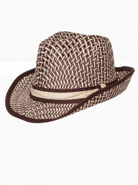 Brązowy kapelusz słomiany z dużym rondem i ciemną wstążką                                  zdj.                                  7