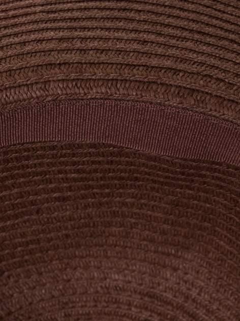 Brązowy kapelusz słomiany z dużym rondem i kryształkami                                  zdj.                                  5