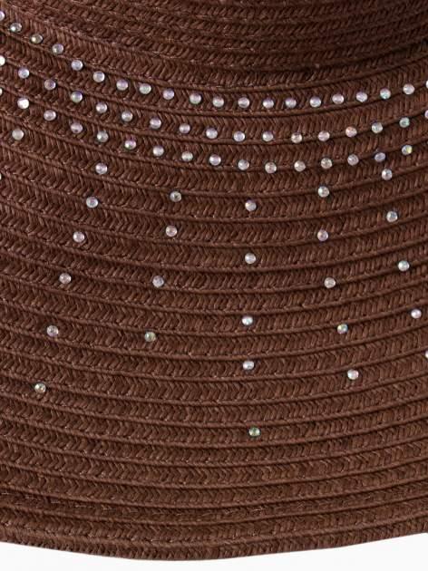 Brązowy kapelusz słomiany z dużym rondem i kryształkami                                  zdj.                                  6