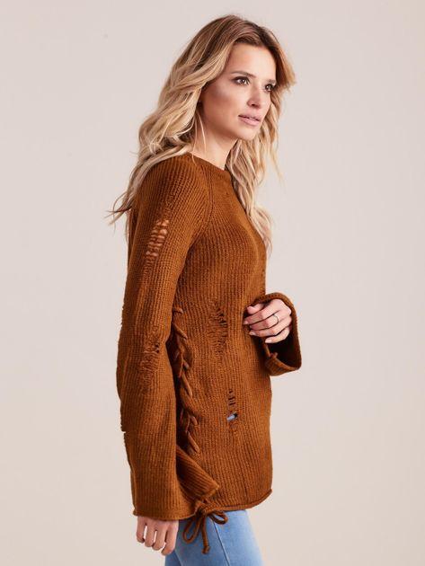 Brązowy luźny sweter ze sznurowaniem i szerokimi rękawami                              zdj.                              3