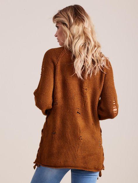 Brązowy luźny sweter ze sznurowaniem i szerokimi rękawami                              zdj.                              2