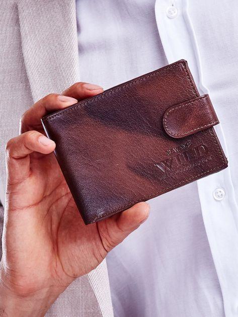 Brązowy męski portfel z cieniowaniem