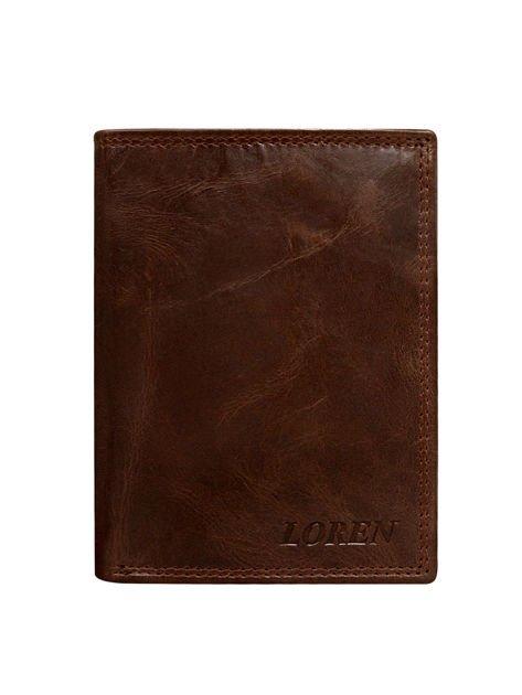 Brązowy męski portfel ze skóry otwarty                              zdj.                              2