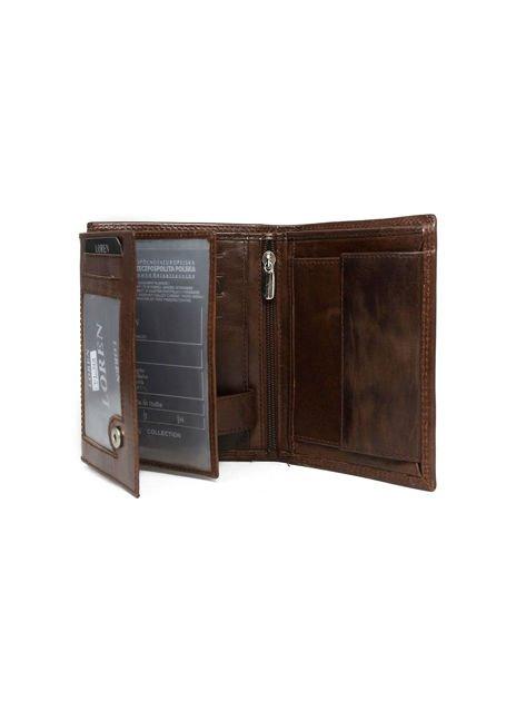 Brązowy męski portfel ze skóry otwarty                              zdj.                              3