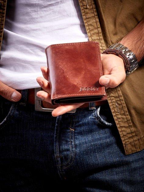 Brązowy męski portfel ze skóry otwarty                              zdj.                              1