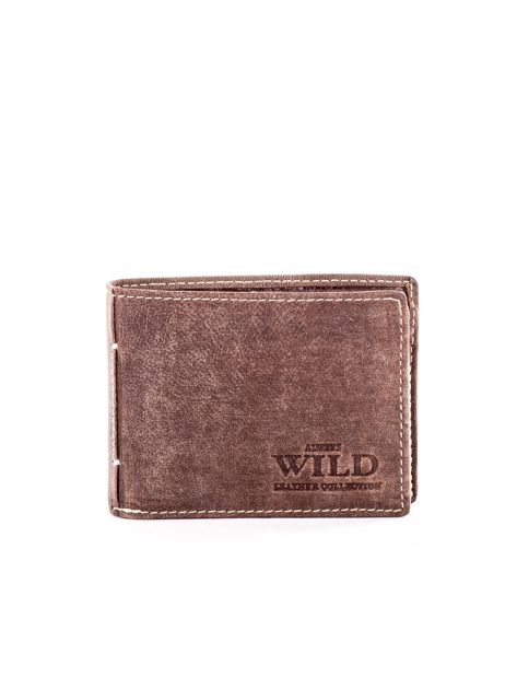 Brązowy męski skórzany portfel