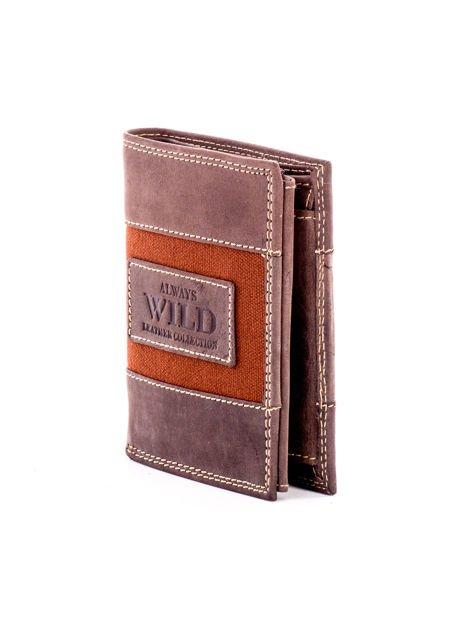 Brązowy męski skórzany portfel z materiałowym modułem                              zdj.                              3