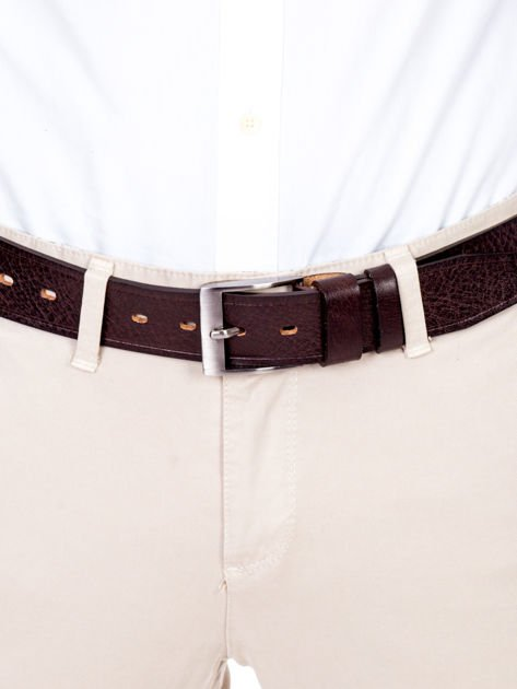 Brązowy pasek męski skórzany z metalową klamrą                              zdj.                              1