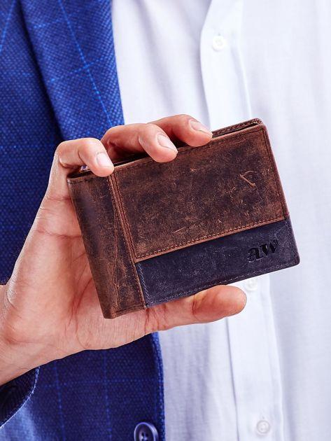 Brązowy portfel dla mężczyzny z geometrycznymi przeszyciami                              zdj.                              1
