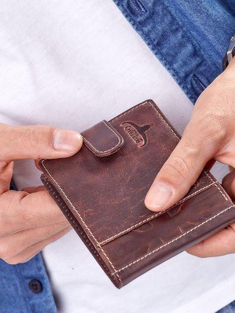Brązowy portfel męski z klapką