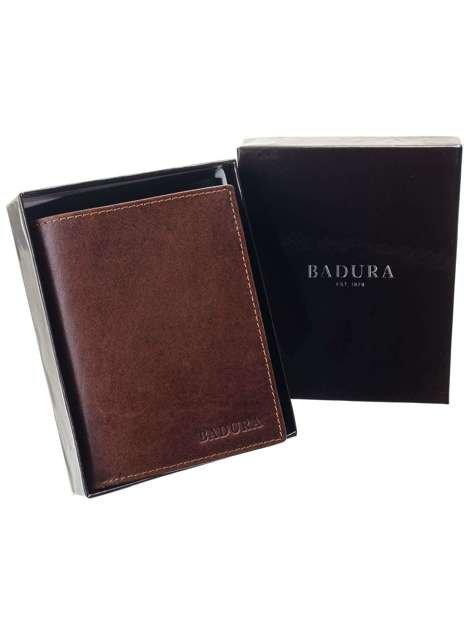 Brązowy portfel męski ze skóry BADURA