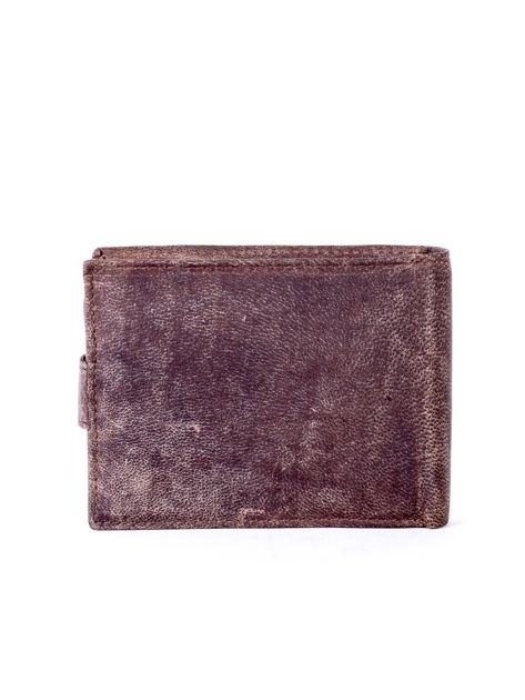 Brązowy portfel męski ze skóry zapinany na zatrzask                              zdj.                              2