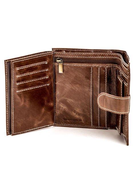 Brązowy portfel skórzany z cieniowaniem i zapięciem na zatrzask                              zdj.                              4