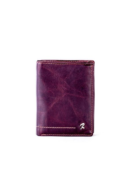Brązowy portfel skórzany z przeszyciami                              zdj.                              1