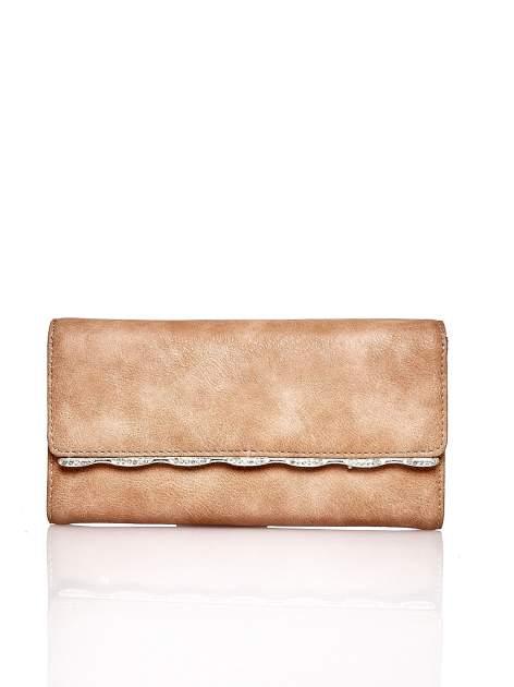 Brązowy portfel z ozdobną aplikacją                                  zdj.                                  1