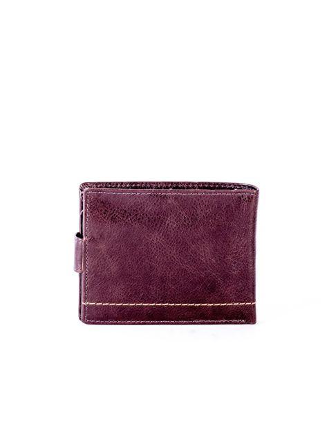 Brązowy portfel ze skóry naturalnej na zatrzask                              zdj.                              2