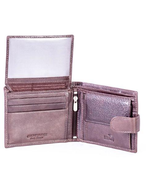 Brązowy portfel ze skóry naturalnej na zatrzask                              zdj.                              5
