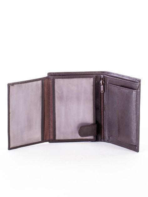 Brązowy portfel ze skóry naturalnej w paski                              zdj.                              5