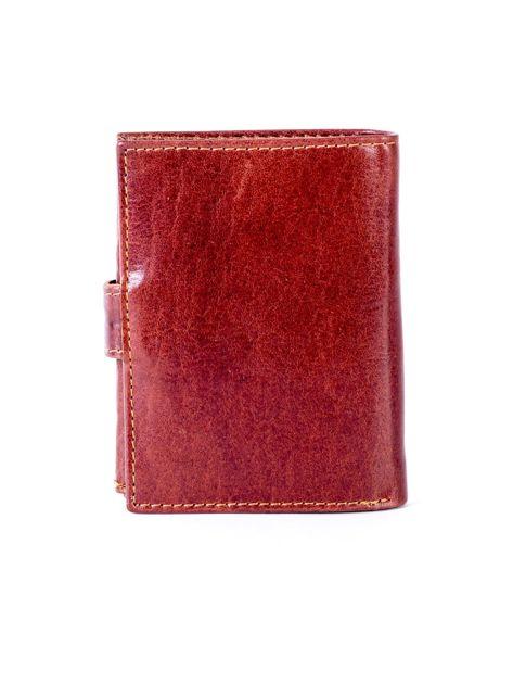 Brązowy portfel ze skóry naturalnej z klapką                              zdj.                              2