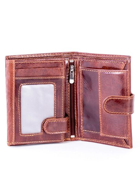 Brązowy portfel ze skóry naturalnej z klapką                              zdj.                              4