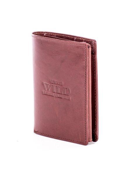 Brązowy portfel ze skóry naturalnej z napisem                              zdj.                              3