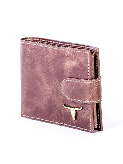 Brązowy portfel ze skóry naturalnej z przetarciami                              zdj.                              3