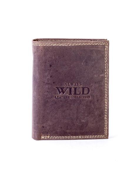 Brązowy portfel ze skóry naturalnej z tłoczeniem                              zdj.                              1