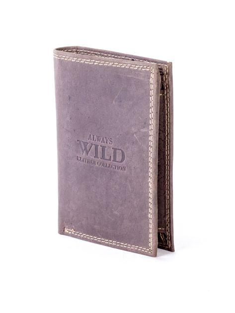 Brązowy portfel ze skóry naturalnej z tłoczeniem                              zdj.                              3
