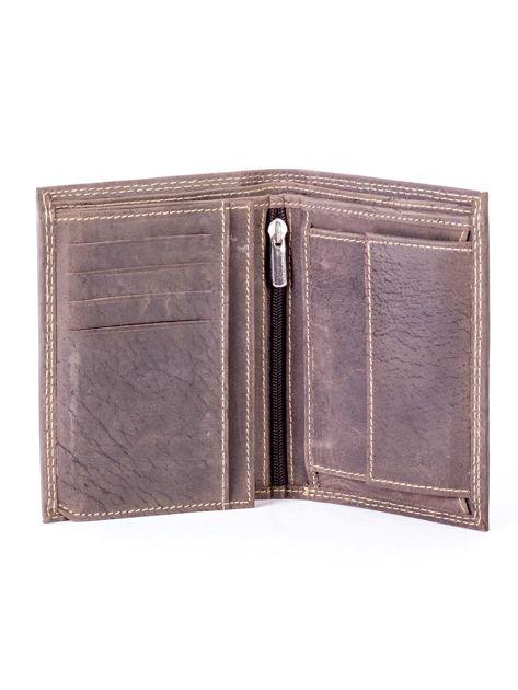 Brązowy portfel ze skóry naturalnej z tłoczeniem                              zdj.                              4