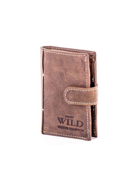 Brązowy portfel ze skóry z klapką                              zdj.                              3