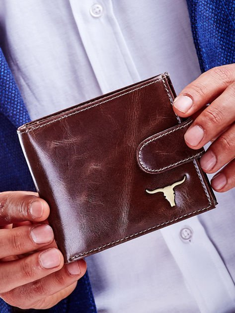 Brązowy skórzany portfel dla mężczyzny cieniowany                              zdj.                              1
