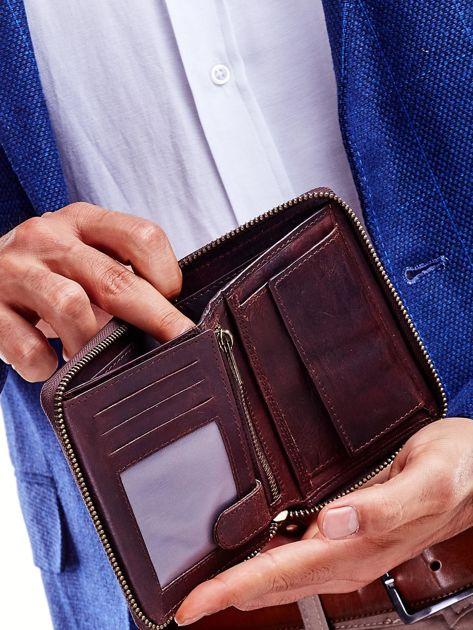 Brązowy skórzany portfel dla mężczyzny na suwak                              zdj.                              3