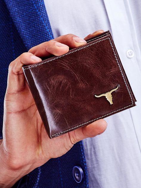 Brązowy skórzany portfel męski                              zdj.                              1