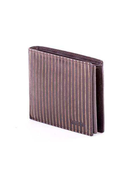 Brązowy skórzany portfel męski w tłoczone paski                               zdj.                              3